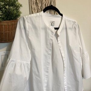 J Crew ruffled sleeve button down blouse size 6